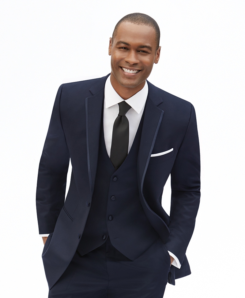 Men's Warehouse, Joseph Abboud, navy, $189.99.