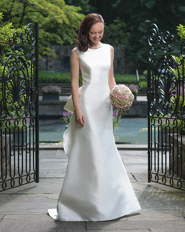 Yermeis gown by Pronovius,  $3,000, from Elizabeth Johns.  Diamond necklace, $45,000,  from A.R. Morris Jewelers.