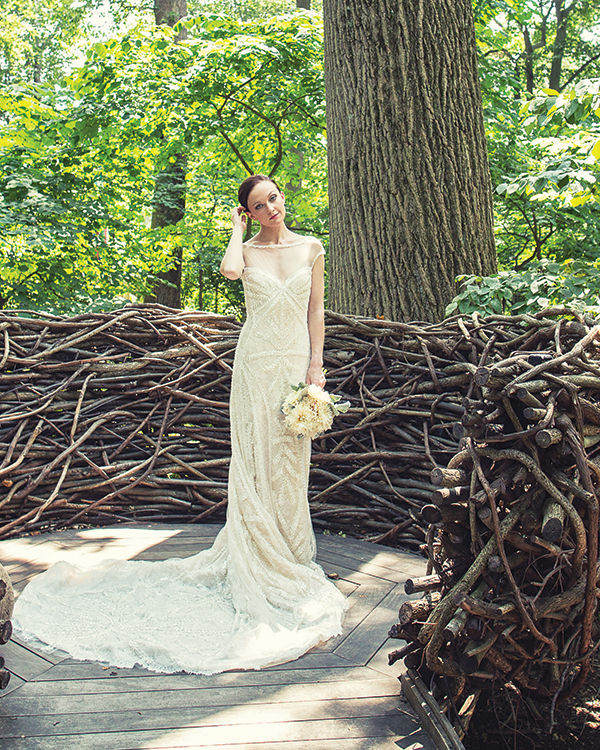 Yirsa gown by Pronovias, $4,350, from  Jennifer's Bridal, Hockessin, Del. A bouquet of cafe au lait dahlias and  artemisias from Ilonka Floral, Malvern, Pa.