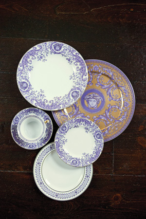 Byzantine Dreams by Versace: charger, $250, five-piece place setting, $495, all from The Enchanted Owl, Greenville