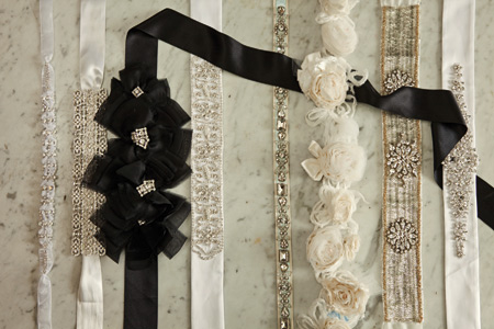 From left: Rhinestone and organza fabric on belts, edges can be finished with ivory or white crystal, by Belinda Grace, $119 at Brides 2 Be, Lewes. Rhinestone design sampled with an ivory ribbon, by Brittany Anne, $219 at Brides 2 Be. The Lady by A.B. Ellie, $222.50, at Anastasia's Bridal, Wilmington. Rhinestone pattern on white or ivory satin belt, by Barbara Anne, $199 at Brides 2 Be. Pronovias belt, $450 at Jennifer's Bridal, Hockessin. Modern Trousseau rose belt-strap, $495 at Jennifer's Bridal. Homa beaded belt, $375 at Jennifer's Bridal. Rhinestone belt with scattered pearls on white or ivory satin belt by Bethenny Anne, $199 at Brides 2 Be