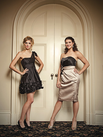 from left: Black tissue taffeta-and-chiffon dress by Bill Levkoff, $200 at Fantasia Bride, Wilmington. White gold chandelier earrings by Miguel Ases, $300 at Peter Kate, Greenville. Spring 2012 Allure strapless, two-tone satin bridesmaid dress (also available floor-length), $144 at Brides 2 Be, Lewes. White enamel-and-rhinestone earrings by Paige Novick, $320 at Peter Kate. (Shoes are the models' own.)