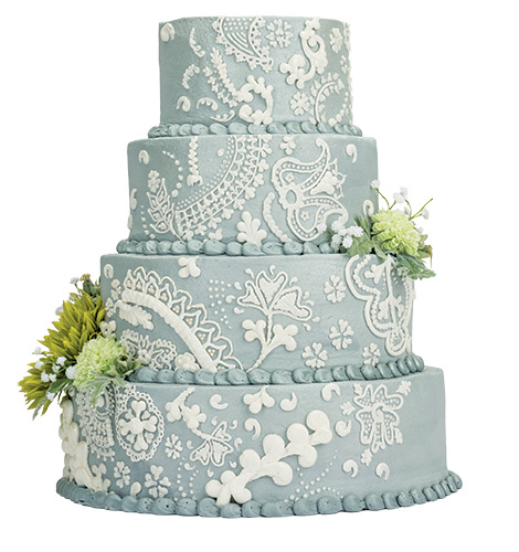 Feast Your Eyes......on this four-tiered cake that features delicate lace details piped over a shimmery buttercream.  <br> Cannon's Cakes, 228 Astro Shopping Center, Newark, 368.7900, cannonscakes.com