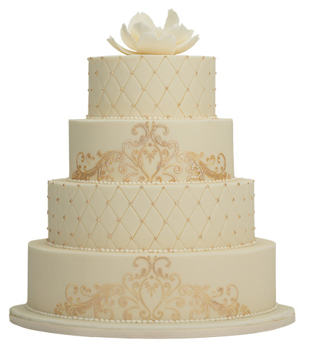 Ivory Tower This classy cake is covered with buttercream icing and enrobed with ivory fondant. <br> Hotel du Pont, 11th and Market streets, Wilmington, 800.441.9019, hoteldupont.com