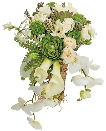 Succulent Vendela roses, gerbera daisies, trick dianthus, calla lilies, brunia berries and Phalaenopsis orchids come together nicely.  <br>Celebrations Design Group, Claymont and Greenville, 793.3893, celebrationsdesigngroup.com