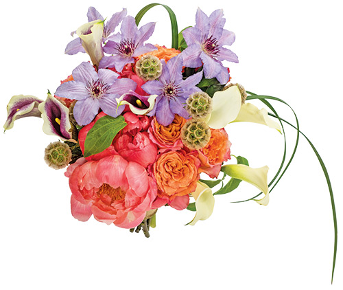 Rainbouquet Coral peonies set the stage for this garden bouquet of clematis, scabiosa pods, calla lilies, roses and succulents.  <br> Jen-Mor Florist, 2109 S. DuPont Hwy, Dover, 697.3273, jenmor.com