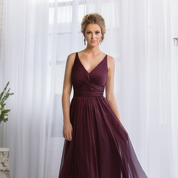 Belsoie $250 // A-line chiffon gown  with full skirt, natural waist, twisted fabric  detail on bodice  and V-neckline.  Also available in  tea or knee length.  Style L164052.