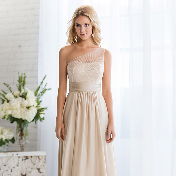 Belsoie $280 // Elegant chiffon gown with A-line skirt, gathered natural waist, and sheer bodice overlay featuring 2,753 hand-sewn beads. Also available in  tea or knee length.  Style L164056.