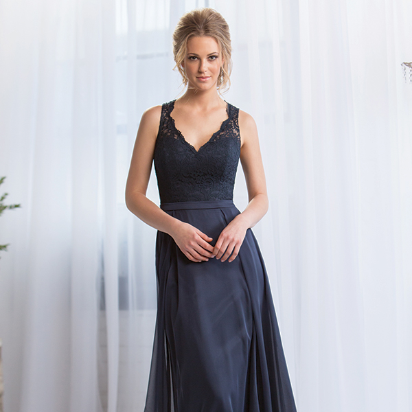 Belsoie $275 // A-line gown with chiffon skirt, natural waist, lace overlay on bodice and lace back with keyhole opening. Also available in  tea or knee length. Style L164065.