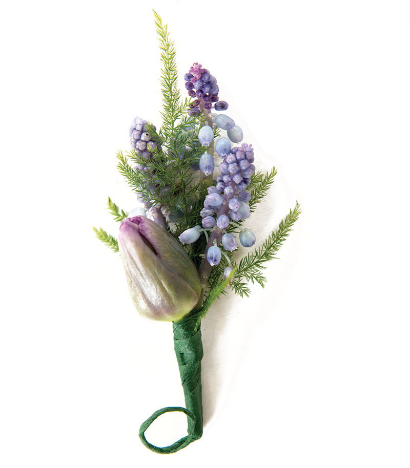 Blue muscari with purple tulip from Bloomsberry Flowers.