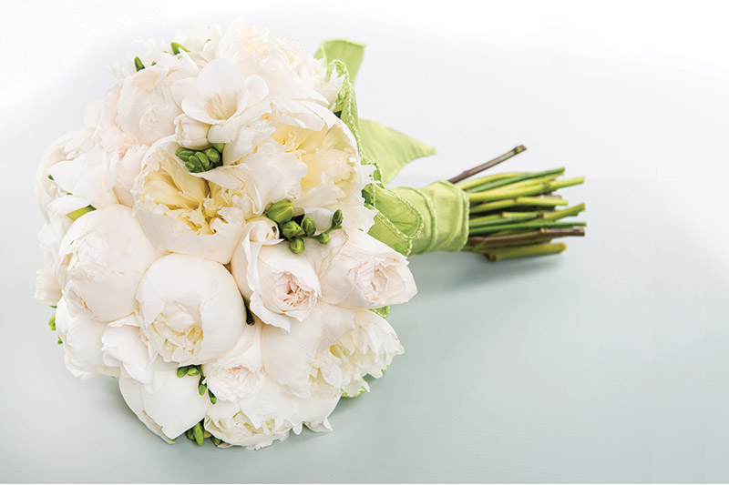 Garden roses, peonies, and freesia from Valley Forge Flowers in Wayne, Pa.