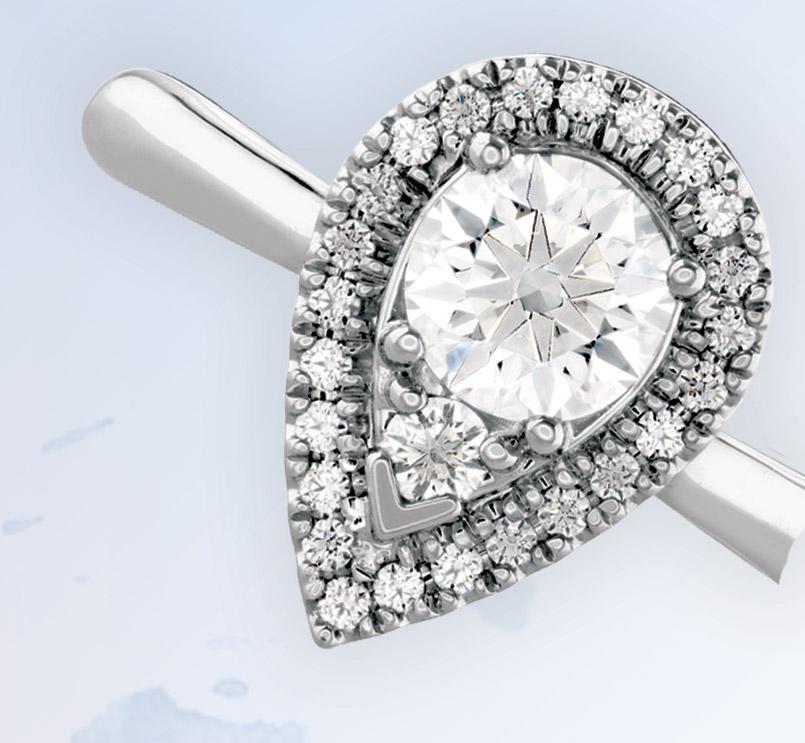 Destiny teardrop-shaped halo ring by Hearts On Fire, Bernie Robbins Jewelers, Villanova, Pa.