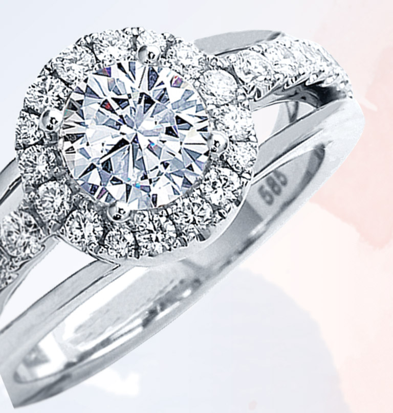 White gold Eclipse with pave-set cushion halo top by Frederic Sage, $2,295, Sayers Jewelers & Gemologists, Smyrna, Del.