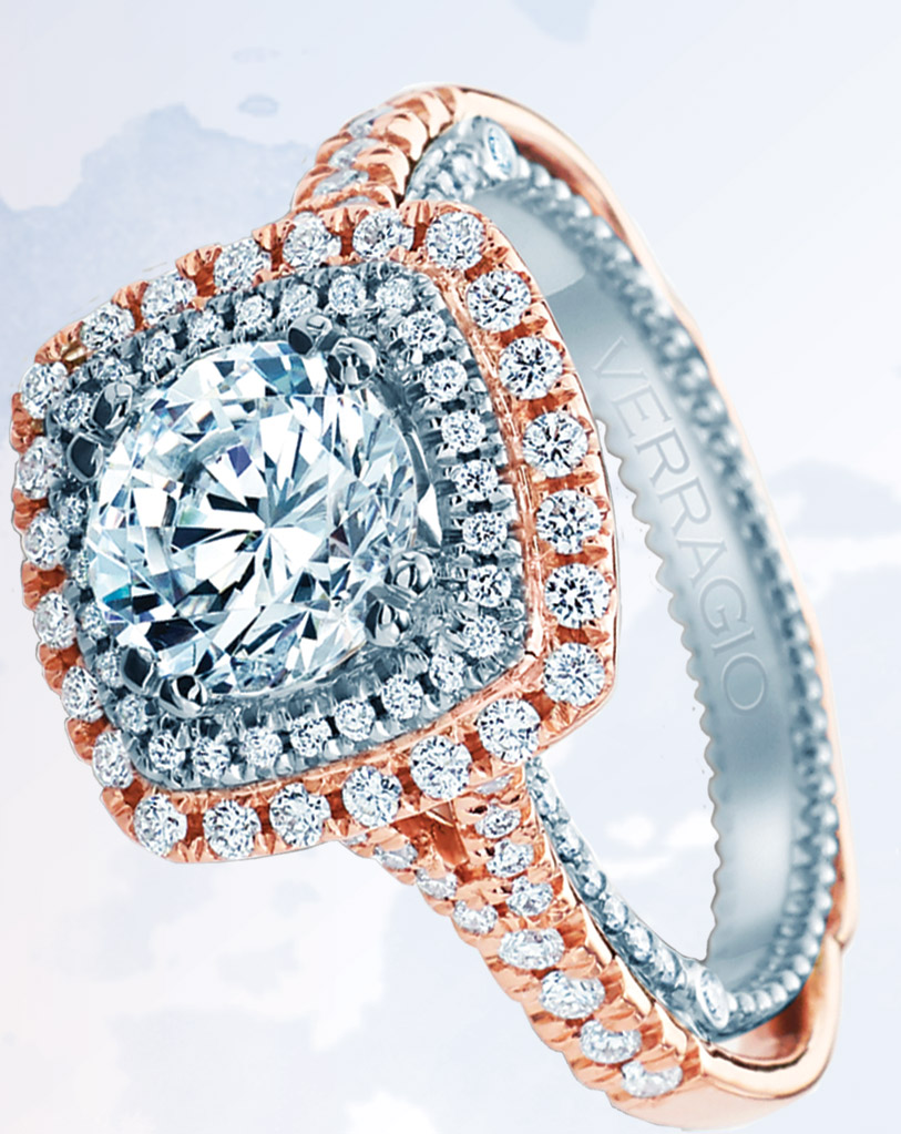 Venetian Collection by Verragio featuring rose gold outer halo, Bernie Robbins Jewelers