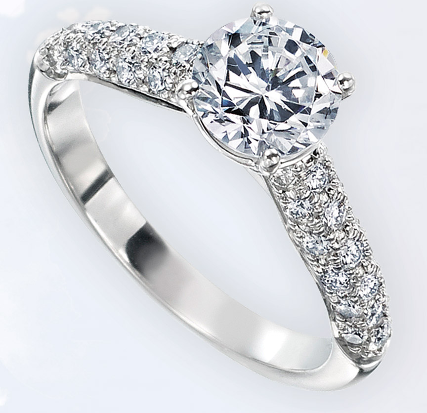Classic pave-set ring in platinum by Gumuchian. Walter J. Cook Jeweler, Paoli, Pa.