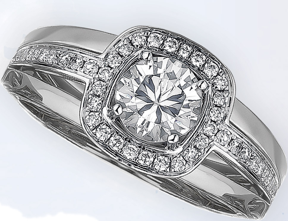 White gold semi-mount Eclipse with pave-set cushion halo top by Frederic Sage, $2,595, Sayers Jewelers & Gemologists