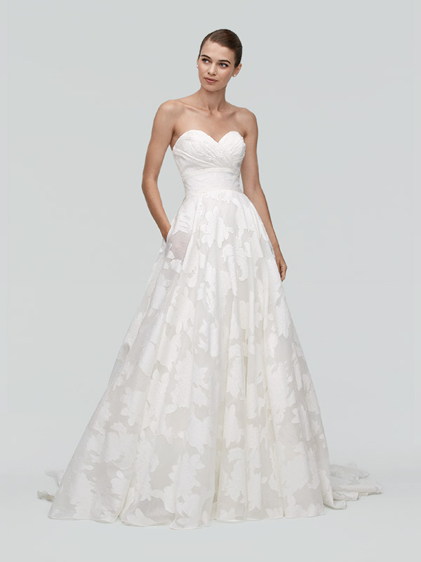 Judith by Watters floral print gown. $2,700 at The Wedding Pavilion at Van Cleve, www.vanclevecollection.com