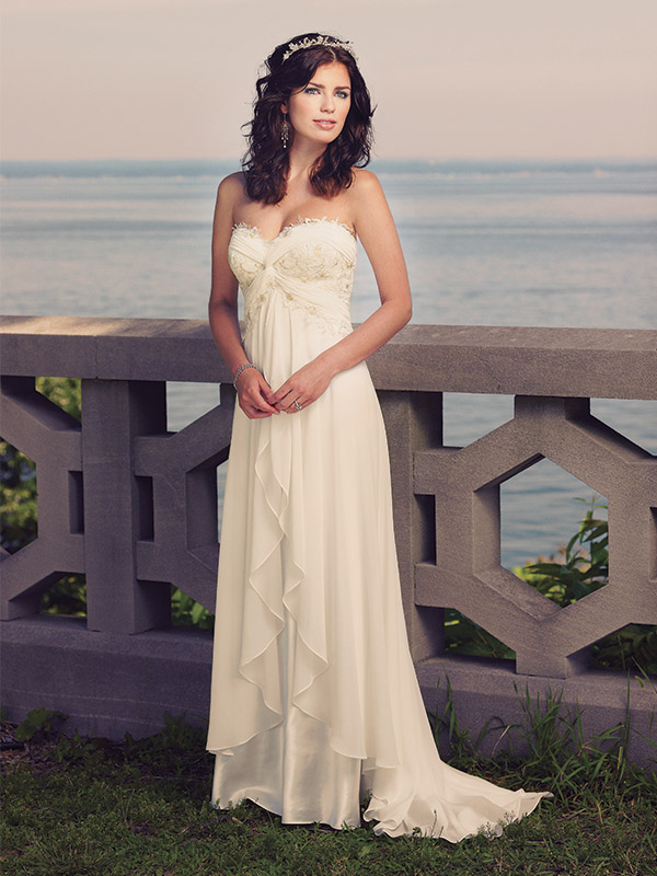 Enchanting by Mon Cheri, Style 18107. Chiffon over charmeuse. $465 at Jan's Boutique, Cherry Hill, N.J., www.jansboutique.com