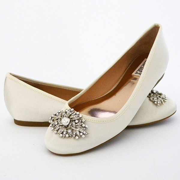 """Badgley Mischka Abella Satin Flats. $165. Available at <a href=""""http://www.lordandtaylor.com/webapp/wcs/stores/servlet/en/lord-and-taylor/shoes/special-occasion-54154--1/abella-satin-flats"""" Lord & Taylor</a>."""