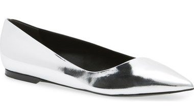"""Balenciaga Pointy Toe Ballet Flat. $465-$525. Available at <a href=""""http://shop.nordstrom.com/s/balenciaga-pointy-toe-ballet-flat-women/4382428?origin=category-personalizedsort&fashioncolor=METALLIC%20SILVER"""">Nordstrom</a>."""