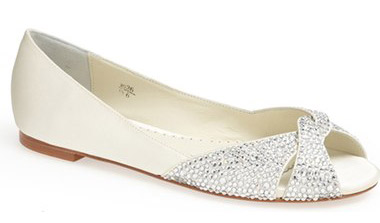 """Benjamin Adams London Andie Crystal Embellished Peep Toe Flat. $269.95. Available at <a href=""""http://shop.nordstrom.com/s/benjamin-adams-london-andie-crystal-embellished-peep-toe-flat/3702300?origin=category-personalizedsort&fashioncolor=IVORY"""">Nordstrom</a>."""