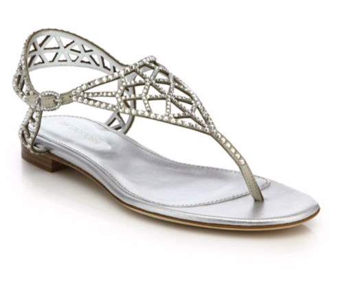 "Sergio Rossi Tresor Swarovski Crystal Flat Sandals. $875. Available at <a href=""http://www.saksfifthavenue.com/main/ProductDetail.jsp?FOLDER%3C%3Efolder_id=2534374306624275&PRODUCT%3C%3Eprd_id=845524446904138&R=880644619079&P_name=Sergio+Rossi&N=306624275+4294904315&bmUID=lnDhaeD"">Saks Fifth Avenue</a>."
