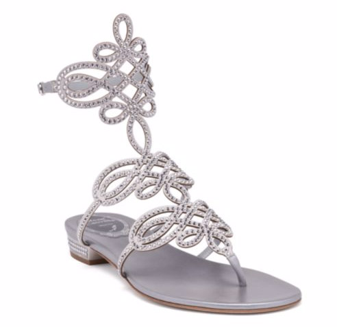 "Rene Caovilla Swarovski Crystal-Embellished Satin Flat Sandals. $1095. Available at <a href=""http://www.saksfifthavenue.com/main/ProductDetail.jsp?PRODUCT%3C%3Eprd_id=845524446954891""> Saks Fifth Avenue</a>."
