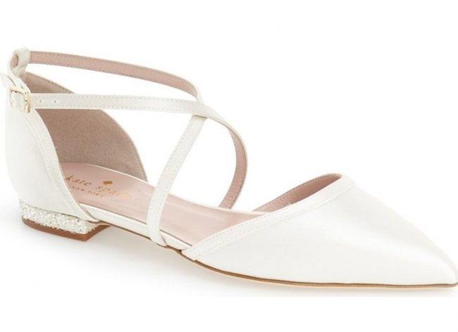 """KATE SPADE NEW YORK Britta Satin Flats. $298. Available at <a href=""""http://www.lordandtaylor.com/webapp/wcs/stores/servlet/en/lord-and-taylor/shoes/special-occasion-54154--1/britta-satin-point-toe-flats""""> Lord & Taylor</a>."""