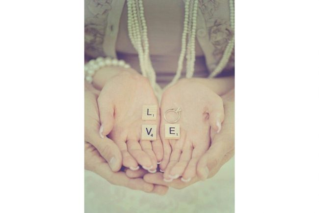 8. Spell it out. Pick a word that means something to both of you and add the ring for a very personal touch.