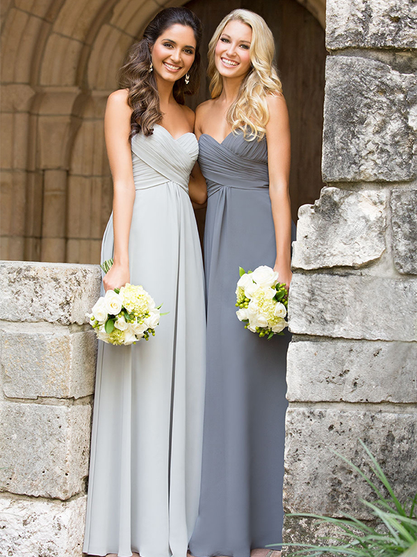 1. Wilson says the high empire waist and ruched top make this dress a good pick for every shape. It also comes in different colors, which is perfect for any season. // Allure Bridesmaids, Style 1221, $176