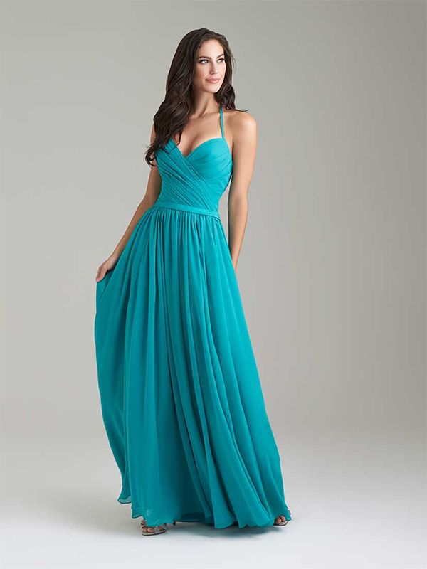 2. This Allure gown is a breezy alternative to a traditional bridesmaid dress, says Wilson. The dress features a V-neck with a satin belt—the pleating in front makes the dress light and fun. // Allure Bridesmaids, Style 1467, $212