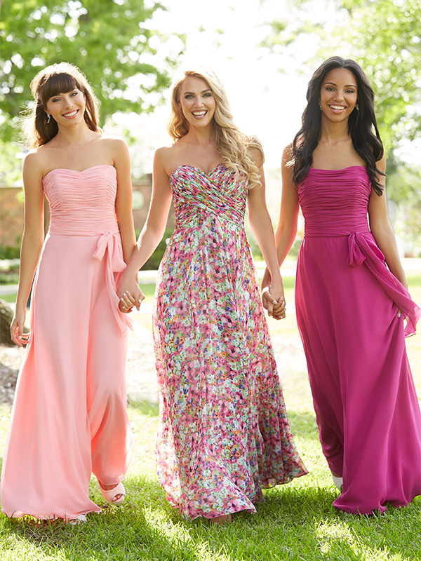3. This gown features a ruched bodice with a natural waistline, creating a beautiful silhouette for all shapes. Wilson says the dress can be done in either a solid, two-tone or a floral print. The soft sweetheart neckline is universally flattering, making this dress a great option for both small and large busts, she says. // Allure Bridesmaids, Style 1403, $164; Allure Bridesmaids, Style 1440 (Floral), $224