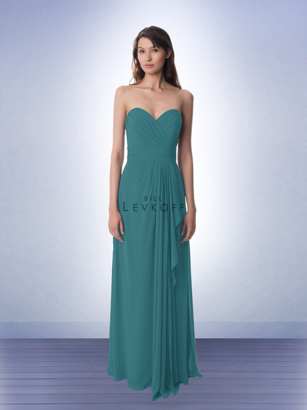 4. A trendy way to show off your bridesmaids' individuality is to mix and match styles. These Bill Levkoff gowns are a great option. When trying to mix styles, Wilson suggests sticking with the same designer and looking for similar silhouettes, but choosing a different neckline for each bridesmaid's comfort. High neck dresses are great for women with larger busts while ruffles can be a nice way to balance out a bridesmaid's beautiful curves. // Bill Levkoff, Style 768, $216
