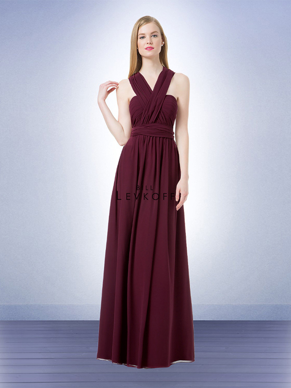 5. Let your bridesmaids be a bit creative. With this Bill Levkoff gown, each bridesmaid can switch up her look by customizing the neckline to her liking. There are endless possibilities! // Bill Levkoff, Style 1222, $230