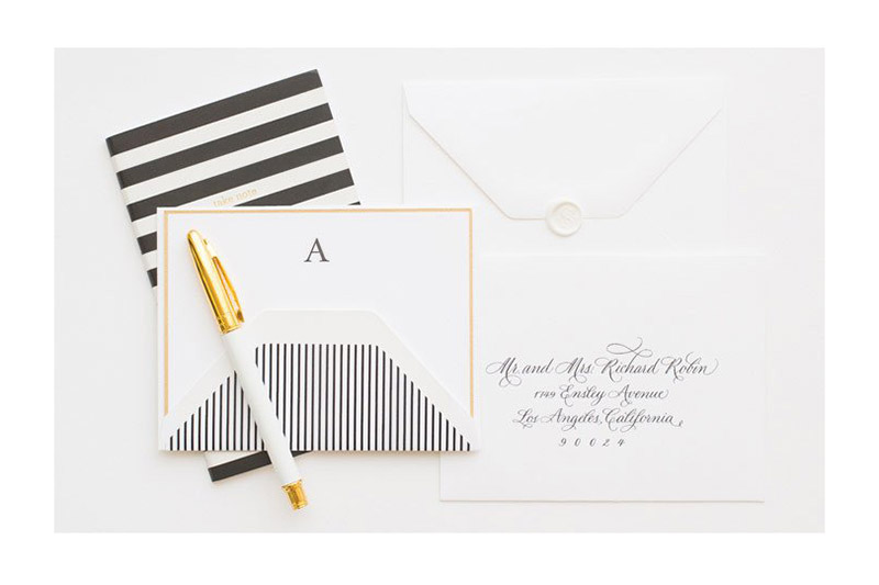 4. Stationery Gift your ladies with these lovely custom black monogrammed cards. A variety of designs allows you to customize each to your bridesmaids preferences.  Sugar Paper, Classic Black Monogram, $32, sugarpaper.com