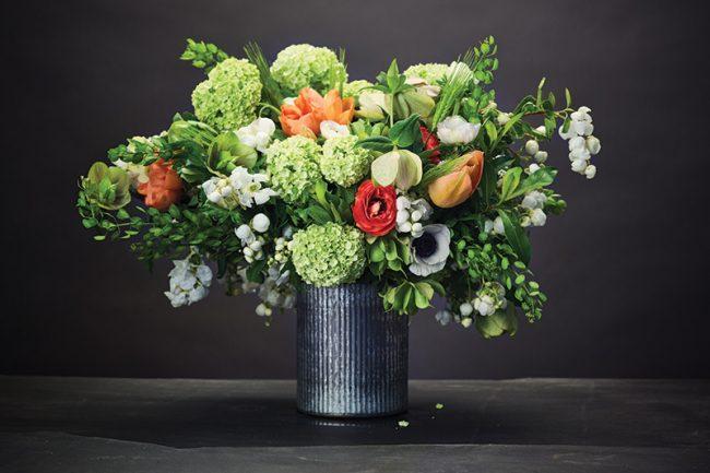 Love 'n Fresh Flowers, Chestnut Hill, lovenfreshflowers.com: Viburnum, ranunculus, hellebore, tulips, cress, anemones and excordia.