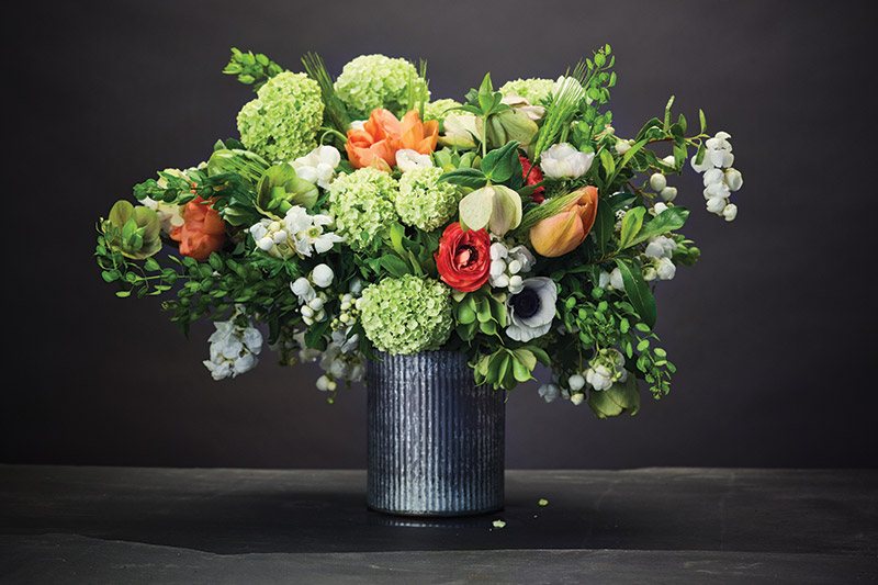 Love 'n Fresh Flowers, Chestnut Hill, lovenfreshflowers.com: Viburnum, ranunculus, hellebore, tulips, cress, anemones and excordia.