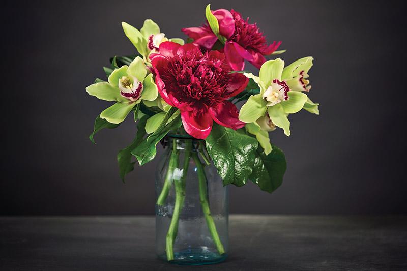 Boyd's Flowers, Wilmington,  www.boydsflowers.com: Cymbidium orchid and peonies.