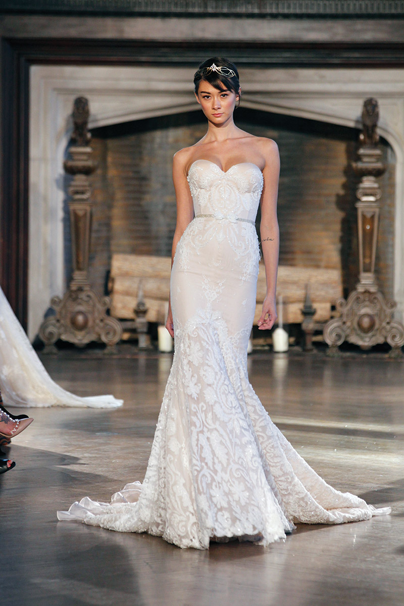 Inbal Dror Style BR-15-16: A strapless mermaid dress is sophisticated in a subtle shade of gold. $9,200 at The Wedding Shoppe, Wayne.