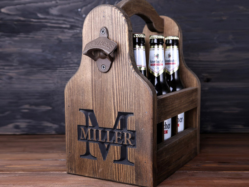 Personalize a custom six-pack carrier for each of the guys. These wooden six-packs can be personalized with a first or last name.  $36.95, etsy.com