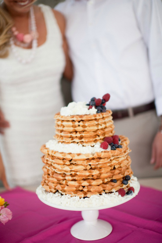 <strong>Waffle Cake</strong> Having a wedded brunch? This waffle cake can be enjoyed with an assortment of fruit. As an after dinner option, add your favorite ice cream filling in between layers to make the perfect dessert.