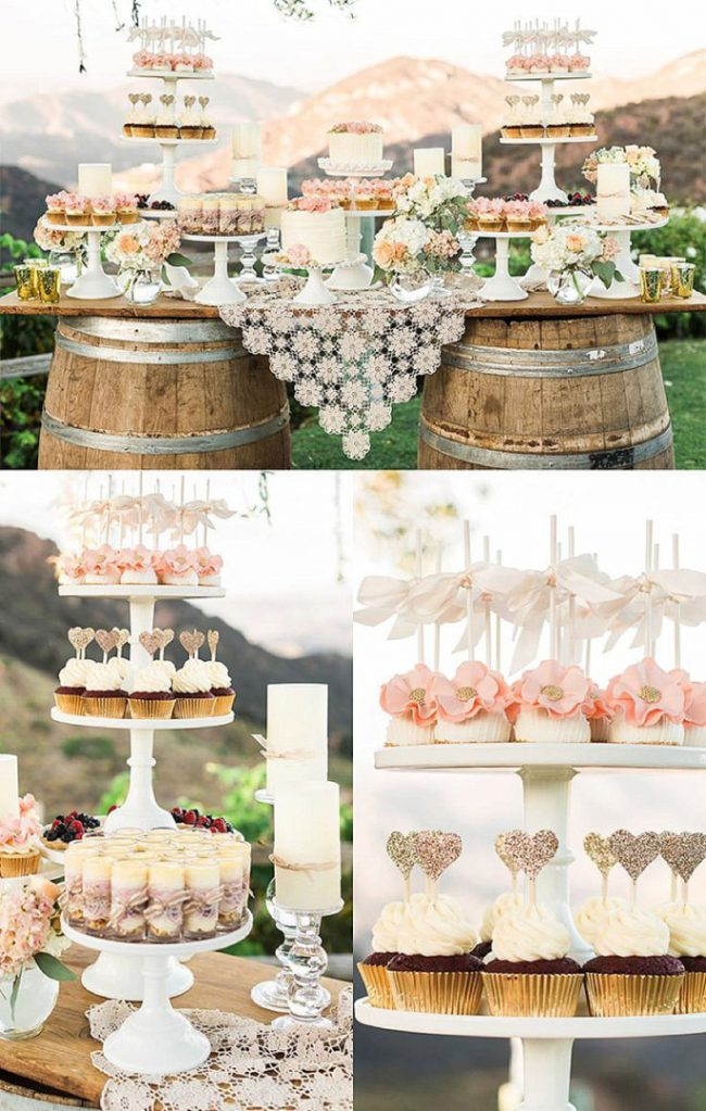 <strong>Dessert Bar</strong> Fill the dessert table at your wedding with an abundance of delicious treats, especially perfect if you struggle to choose just one. This classy ranch wedding dessert bar is elegant, with a touch of rustic.