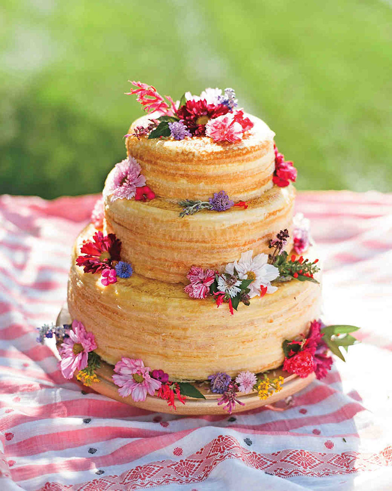 <strong>Crepe Cake</strong>  This three-tier crepe cake is a unique alternative. Add floral garnishes to match your décor.