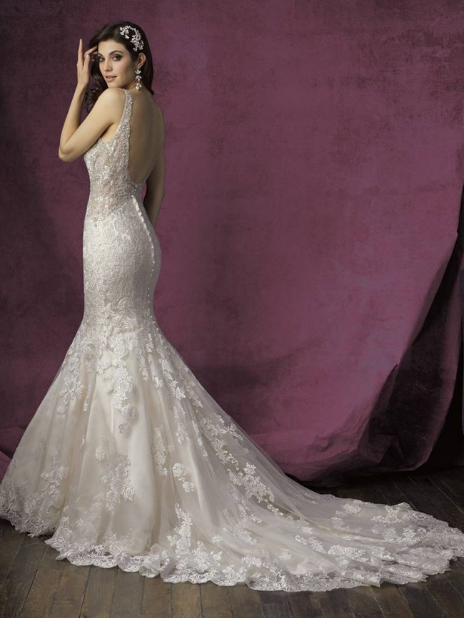 """(Allure Bridals Style 9356) Satin and lace gown stuns from the front and the back. Features clean lines but plenty of sparkle and detailing. $1,753, <a href=""""www.brides2bebyhope.com"""">Brides 2 Be by Hope Mitchell</a>, Rehoboth, Del."""