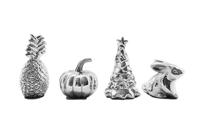 <strong>2. Christmas Pieces</strong>  New couples will often be in charge of hosting holiday get-togethers but soon realize they have very few decorations. Mariposa Pineapple, Pumpkin, Bunny & Christmas Tree weights, $54, The Little House Shop.