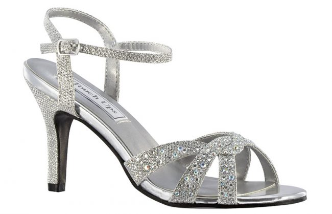 Dulce By Touch Ups | This glittery sandal features a sensible heel. It is available in silver shimmer and gold shimmer. $70, www.jansboutique.com, Jan's Boutique Inc., 406 Marlton Pike East (Route 70), Cherry Hill, N.J., (856) 428-8181.