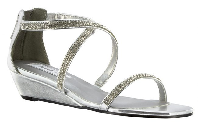 Moriah By Touch Ups | This fun wedge sandal has a modest one-inch heel. The jeweled straps hold the foot in place and the zipper back ensures the best fit. Available in gold and silver, $70, www.jansboutique.com, Jan's Boutique Inc.