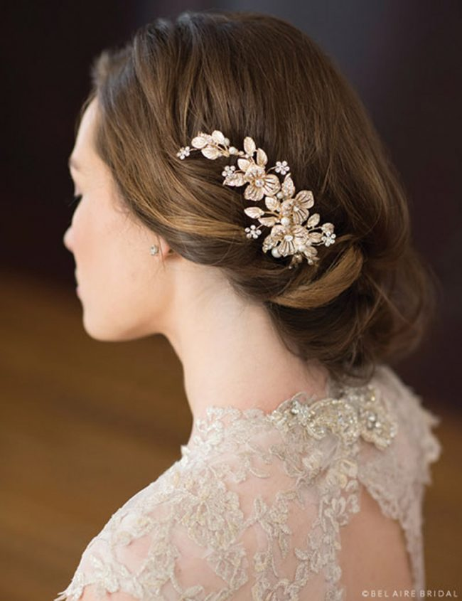 Embrace a gilded flower comb studded with glorious rhinestone accents. Bel Aire Bridal Style 6672, $129, www.clairesfashions.net, Claire's Fashions, Wilmington, Del.