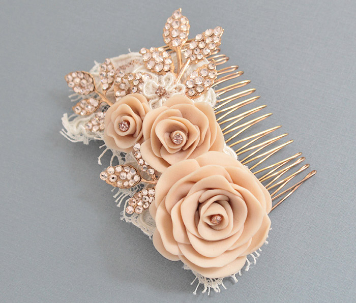 Adorn this chic rose gold hair comb with flowers made of clay. Haute Bride Style HC1007, $285, www.jennifersbridal.com, Jennifer's Bridal, Hockessin, Del.