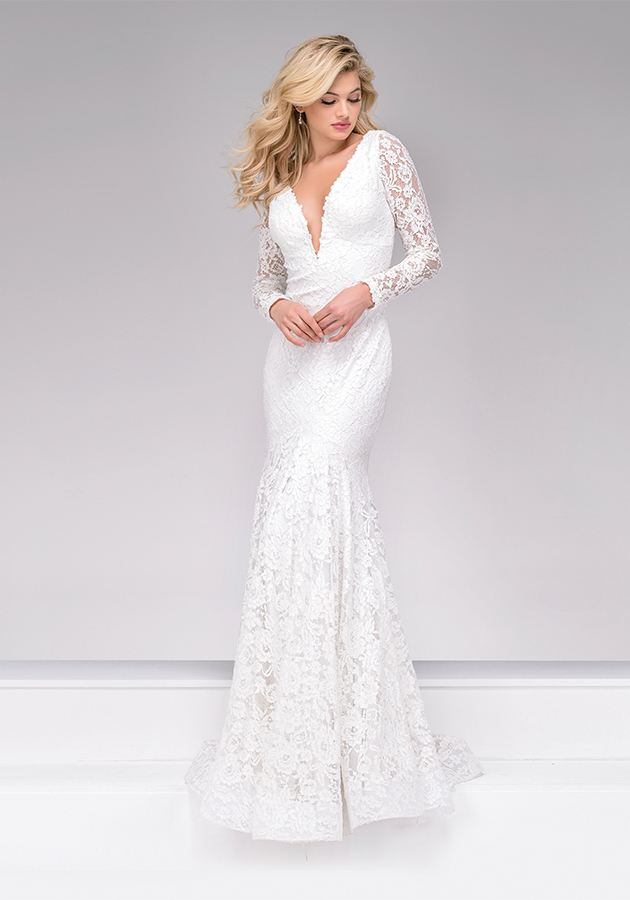 Jovani Style 50026 | This off-white lace trumpet dress features a deep plunging neckline, deep V-back and sheer lace long sleeves. $580, Occasions Boutique, Malvern, Pa., www.occasions-boutique.com